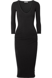 James Perse Ruched Stretch Cotton Jersey Midi Dress Black
