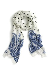 J.Crew Women's Polka Dot And Paisley Scarf