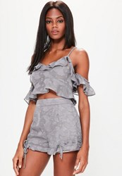 Missguided Grey Textured Lace Up Detail Ruffle Hem Shorts