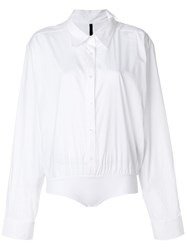 Unravel Project Elasticated Waist Shirt Cotton Silk Polyamide Spandex Elastane White