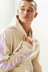 Urban Outfitters Uo Contrast Tape Hoodie Sweatshirt Taupe