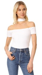 Twenty Tees Collar Off The Shoulder Top White