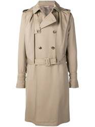 Valentino Hooded Trench Coat Neutrals