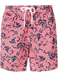 Kiton Gingham Print Swim Shorts Red