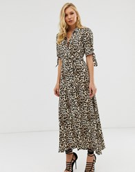 Zibi London Leopard Print Maxi Shirt Dress Multi