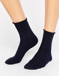 Asos Roll Top Ankle Socks Navy