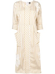 Lorena Antoniazzi Striped Midi Dress White