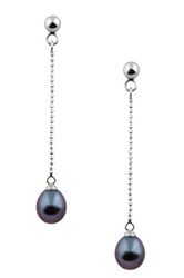7.5 8Mm Freshwater Pearl Ball Chain Dangle Earrings Black