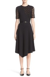 Jason Wu Women's Chevron Lace And Ponte Knit Asymmetric Dress