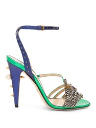 Gucci Wangy Embellished Leather Sandals Green Multi
