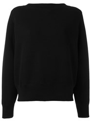 Sacai Lace Up Boat Neck Sweatshirt Black
