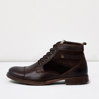 River Island Mens Chocolate Brown Leather Lace Up Work Boots