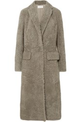 The Row Muto Belted Shearling Coat Gray
