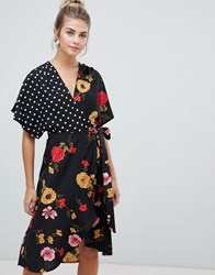 Influence Kimono Sleeve Wrap Dress In Mix And Match Print Black Floral And Spot