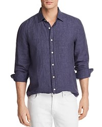 Bloomingdale's The Men's Store At Linen Regular Fit Button Down Shirt 100 Exclusive Navy Tobacco