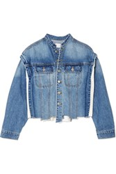Sjyp Distressed Paneled Denim Jacket Mid Denim