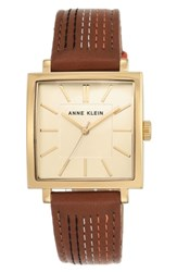 Anne Klein Square Leather Strap Watch 42Mm X 34Mm