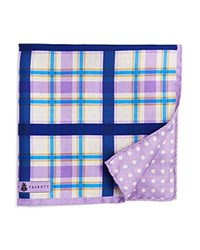 Robert Talbott Plaid Multi Check Silk Pocket Square Lavender