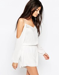 Wyldr Soul Playsuit With Cold Shoulder And Lace Detail Ivory White