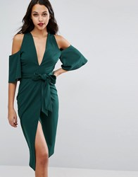 Asos Cold Shoulder Kimono Tie Pencil Dress Bottle Green Multi