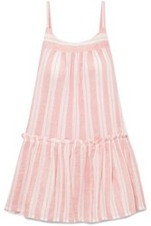 Lemlem Doro Ruffled Striped Cotton Blend Gauze Mini Dress Blush