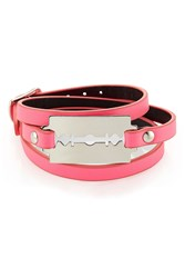 Mcq By Alexander Mcqueen Leather Bracelet With Razor Blade Motif Pink