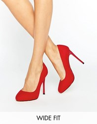 Faith Wide Fit Candy Red Court Shoes Red Mf