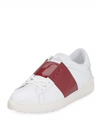 Valentino Leather Low Top Sneaker With Patent Stripe Black Gunmetal White Red