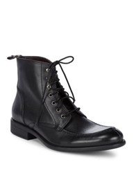 Black Brown Pebbled Leather Ankle Boots Black