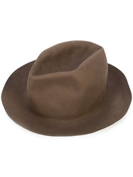 Horisaki Design And Handel Classic Fedora Hat Unisex Beaver Fur S Brown