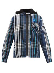 Off White Checked Cotton Blend Hooded Overshirt Black Blue