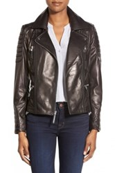 Vince Camuto Genuine Leather Moto Jacket Black