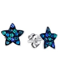 Unwritten Blue Crystal Star Stud Earrings In Sterling Silver