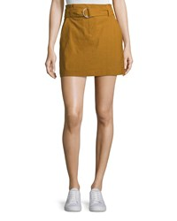 A.L.C. Bryce Belted Linen Stretch Skirt Gold