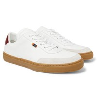 Paul Smith Earl Suede Trimmed Leather Sneakers White