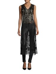 Alice Olivia Ciel Embroidered Lace Tunic Black