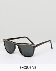 Reclaimed Vintage Inspired Square Black Sunglasses With Gold Detail Black