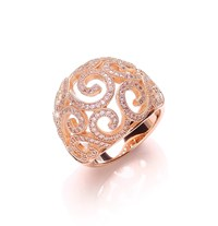 Bouton Open Swirl Micro Pave Ring Silver