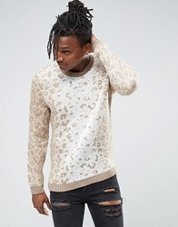 Asos Jumper With All Over Leopard Design In Soft Yarn Beige