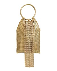 Whiting And Davis Crystal Cascade Fringe Clutch Bag Gold