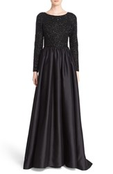 Badgley Mischka Couture. Women's Couture Embellished Bodice Long Sleeve Gown