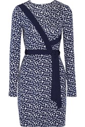 Diane Von Furstenberg Vienna Reversible Printed Silk Jersey Wrap Dress Navy