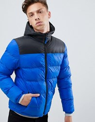 Tokyo Laundry Panelled Puffer Jacket With Hood Blue