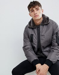 D Struct Borg Collar Bomber Poly Grey