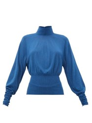 Christophe Lemaire Roll Neck Knitted Sweater Blue