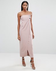 Aq Aq Split Front Midi Dress With Button Detail Rose Taupe Pink