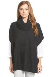 Women's Halogen Wool And Cashmere Poncho Heather Charcoal
