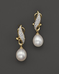 Bloomingdale's Cultured Freshwater Pearl Drop Earrings With Diamonds In 14K Yellow Gold 8Mm Gold White