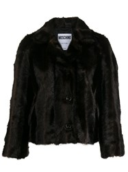 Moschino Faux Fur Jacket Brown
