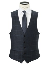 John Lewis Wool Glen Check Tailored Waistcoat Navy